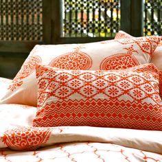 Annika Duvet Set in Orange & White // bedroom boho