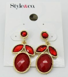 Style&co. Gold-Tone Red Stone Bold Drop Earrings #Styleandco #DropDangle