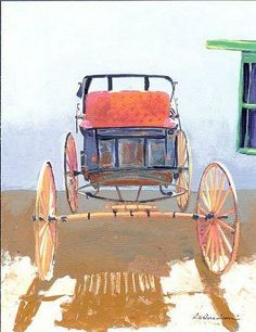 RD Riccoboni Old Buggy in the Park Acrylic painting on canvas
