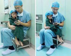"""Dr. Shi Zuo acalmando a pequena """"Xin Er"""" antes de ela se submeter a uma cirurgia cardíaca. Humanização em primeiro lugar. Quer saber mais? Visite nosso blog hospitelcuritiba.blogspot.com.br"""