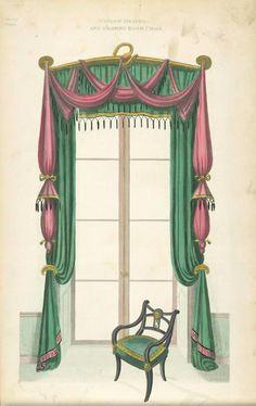 Window drapery and drawing room chair. (1805-1806)