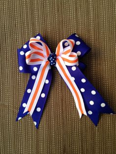 Blue and Orange Cheerleading Bow - I could make this!