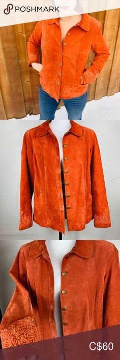 🌈BUY 1 GET 1 FREE 🌈 Orange Suede Leather Jacket This adorable Leather Jackets is comfortable and stylish. Fits a women size Large with no rips or holes, excellent Vintage Condition. Dry Clean only Suede by PT Jackets & Coats Plus Fashion, Fashion Tips, Fashion Trends, Buy 1, Leather Jackets, Suede Leather, Orange Color, Jackets For Women, Coats