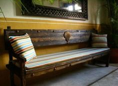 """Mexican reclaimed wood bench in the Hacienda style. A perfect way to say """"welcome to our home"""" !"""