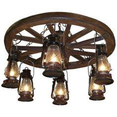 "Amberwood Black Lanterns 36"" Wagon Wheel Chandelier - family room/living room (like the hanging black lanterns)"