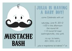 MUSTACHE BASH Boy Baby Shower Invitation by PaperHeartCompany