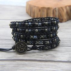► Product Description: The black agate beads size is 4mm. The blue navy beads size is 4mm. The pyrite beads size is 4mm. --Bracelet measurement: 2 wraps around wrist - 13 inches 3 wraps around wrist - 22 inches 4 wraps around wrist - 28 inches 5 wraps around wrist - 33.5 inches  --bracelet has extra three adjustment loops to fit wrists from 6 to 8 inches.  --Button: all the Buttons we have are in the last picture, please leave a note about which button you would like to use, if there is no…