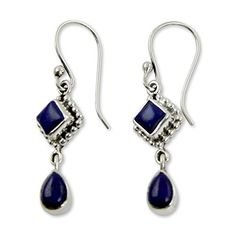 NOVICA 925 Sterling Silver and Lapis Lazuli Dangle Earrings Queen of Diamonds *** Continue to the product at the image link.(This is an Amazon affiliate link)
