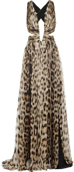 Roberto Cavalli Cutout leopard-print silk-chiffon gown