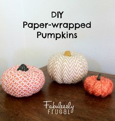 If you're looking for an easy craft to do with the kids these DIY Paper-wrapped Pumpkins are just the right project!