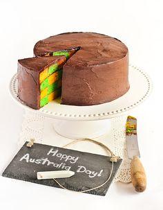 Green & Gold Checkerboard Cake with Milo Ganache - a possiblity for next Australia Day