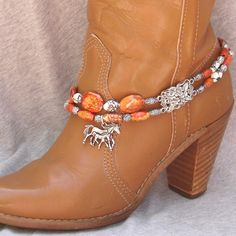 Natural Stone Beaded Boot Bracelet With Horse by BlackBunnyBeads