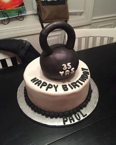 Project Body Transformation | When your workout equipment can be used as your post workout meal immediately after. #kettlebell #cake #birthday #PBT