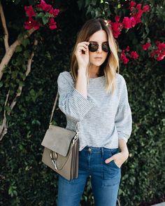 striped tee + jeans + Chloe bag.