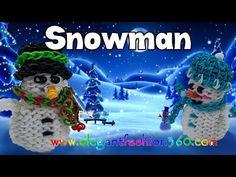 Rainbow Loom Snowman Charms – How to Loom Bands- Holiday/Christmas Ornaments Rainbow Loom Patterns, Rainbow Loom Creations, Rainbow Loom Bands, Rainbow Loom Charms, Rainbow Loom Bracelets, Loom Love, Fun Loom, Rainbow Loom Christmas, Rubber Band Crafts