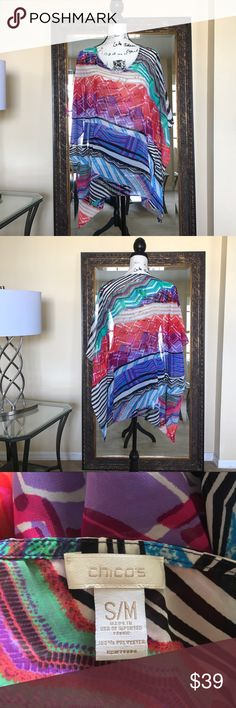 ✨🌈CHICO's Size: S/M Vibrant Colored Sheer Poncho✨ ✨🌈CHICO's Size: Small/Medium Vibrant Mixed Colored Sheer Poncho✨EUC with no flaws! 💯% Polyester. Chico's Tops Blouses