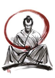 Samurai meditation. https://www.etsy.com/listing/185500969/samurai-fine-art-samurai-painting-black? #samurai #samuraimeditation #meditation #samuraiart