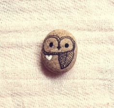 Tiny Hand Painted Rock Owl