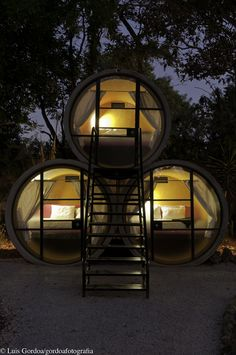 Mexico's Tubohotel – a Recycled Concrete Tube Hotel Design Front View of Room at Night – Best Home Decoration