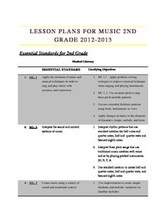 2nd Grade Music Lesson Plan Bundle based on new common cor