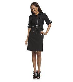 MICHAEL Michael Kors® Roll-Sleeve Belted Black Dress | Herberger's