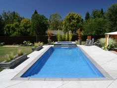 Rectangular Pool Landscape Designs rectangular pool w/ spa + baja step. | backyard | pinterest