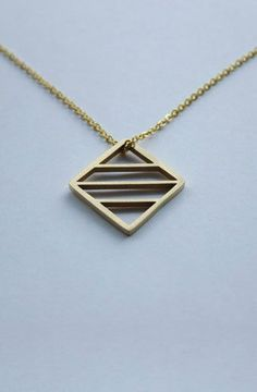 "14K gold plated Ancient Glyph square symbol that represents ""ENERGY"". By Jaeci - 30"" Chain - 14K Gold Plated - Unisex"
