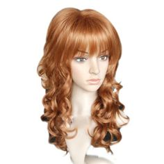 Capless Long Top Grade Quality Synthetic Flaxen Brown Curly Hair Wig