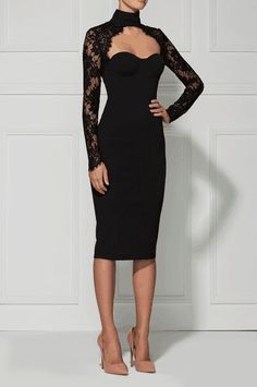 Posh Girl Women's Roslyn Black Lace Bandage Cocktail Dress #Plus Size.black dress