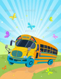 Cartoon School Bus | School Bus GraphicRiver - Vectors - Decorative Backgrounds 2650787