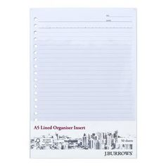 J.Burrows A5 Organiser Pages Ruled White 50 Pages
