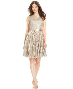 JS Boutique Cap-Sleeve Illusion Sequin-Lace Flare Dress - Dresses - Women - Macy's