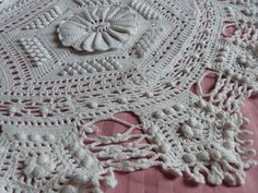 Antique hand crocheted bedspread afghan by MyFrenchAntiqueShop