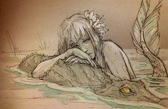Girl (mermaid?) with croc