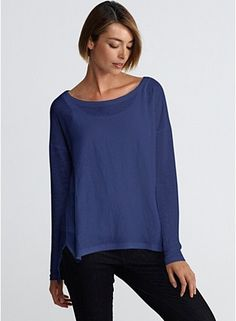 Wide Neck Box-Top in Linen Jersey