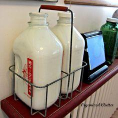 Vintage Milk Bottles & Carrier with Inside Painted with Craft Paint Old Milk Bottles, Vintage Milk Bottles, Milk Cans, Vintage Milk Can, Vintage Items, Bottle Display, Clutter Organization, Bottle Carrier, Bottle Painting