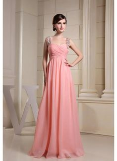 Chiffon A Line Criss Cross Peach Prom Dress with Straps £97.79