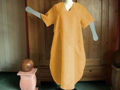 Ballonkleid,Grössen 48 bis 64, Leinen curry,gelb von HKB-Dress auf DaWanda.com