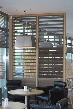 Louvered partition Partition Screen, Partition Design, Louvered Shutters, Shutter Wall, Folding Doors, Windows And Doors, Blinds, House Design, Interior Design