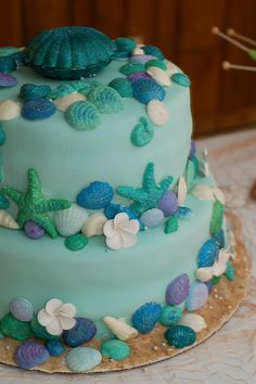 ocean theme cake - love it! I would add a few more sand colors (maybe). Beautiful.