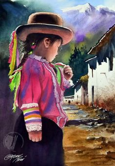 Arte Woman Knitwear and Sweaters womans sweater vest Mexican Artwork, Mexican Paintings, Mexican Folk Art, Watercolor Portraits, Watercolor Paintings, Peruvian Art, Animal Art Projects, Art Painting Gallery, Southwest Art