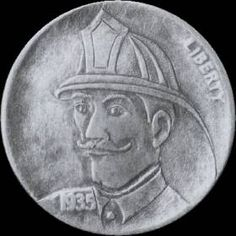 STEVE COX HOBO NICKEL - FIREMAN - 1935p BUFFALO NICKEL