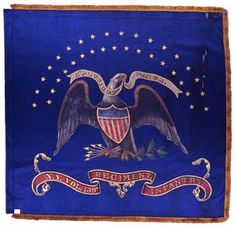 159th Regiment NY Volunteer Infantry  Regimental Color.  The New York State Battle Flag Collection includes a painted silk regimental color carried by the 159th Regiment. The color features the arms and motto of the United States complete with 35 gold painted stars in two arcs (18 over 17). The lower ribbon, with raised center section and an ornate gold border and tails, includes the regiment's numeric designation. This flag entered the New York State Battle Flag collection on November 27…