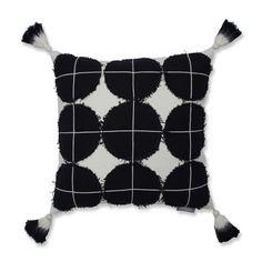 Circle Grid Tasseled Square Throw Pillow Black/White - Pillow Perfect - image 1 of 4 Blue Throw Pillows, White Pillows, Nature Color Palette, A Perfect Circle, Perfect Image, Pillow Arrangement, Pillow Reviews, Perfect Pillow, Designer Throw Pillows