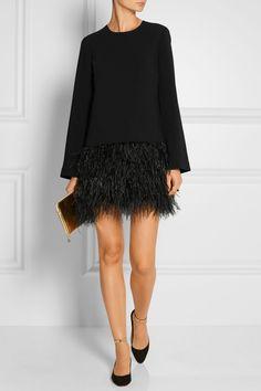 Elizabeth and James | Serena feather-trimmed cady mini dress | NET-A-PORTER.COM