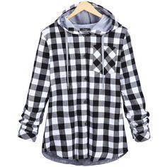 2016 Fashion Women Hoodies Cotton Autumn Coat Long Sleeve Plaid cotton Hoodies Sport button Sweatshirts
