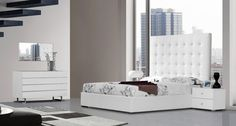 Modrest Lyrica White Leatherette Tall Headboard Queen Size Bed VGJY4011-WHTProduct : 71393Features: Available In Queen, Eastern King