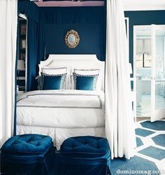 Blue and White Bedroom Design. Blue and White Bedroom Design. Cool Blue and White Bedroom Design Ideas 30 Navy Blue Bedrooms, Blue Rooms, Blue Walls, White Bedrooms, White Walls, Turquoise Bedrooms, Modern Bedrooms, Master Bedrooms, Home Design