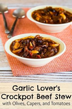 Garlic Lover's Crockpot Beef Stew with Olives, Capers, and Tomatoes was featured in the March 2015 #DeliciouslyHealthyLowCarb Recipes Round-up on Kalyn's Kitchen. (Low-Carb, Gluten-Free, Paleo) [from KalynsKitchen.com]
