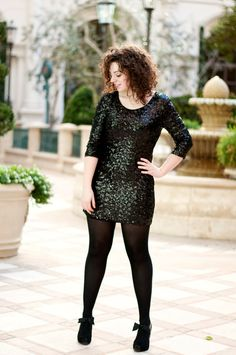 Sequins Dress with Leggings